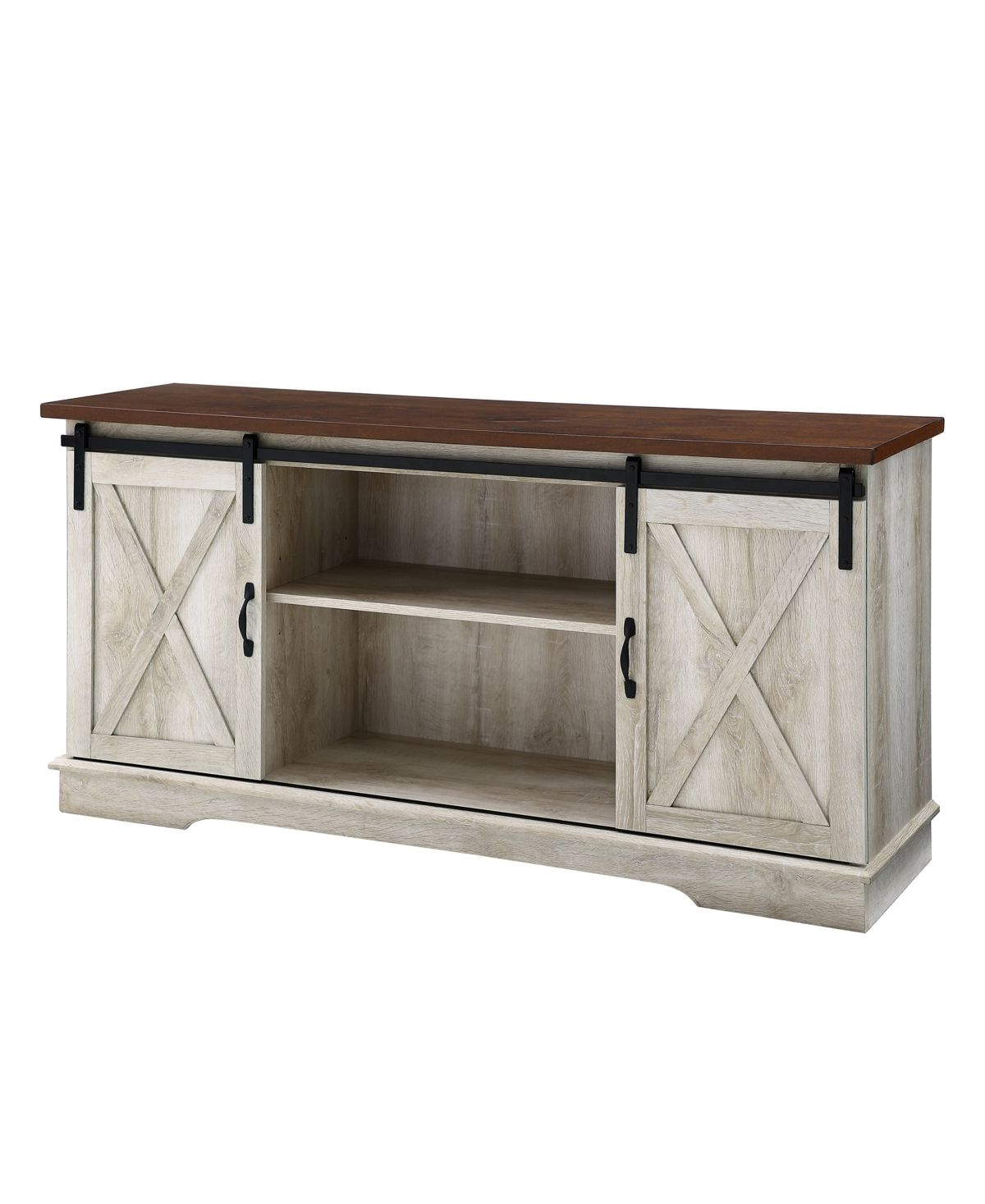 """Walker Edison 58"""" Farmhouse Tv Stand With Sliding Barn With Regard To Newest Jaxpety 58"""" Farmhouse Sliding Barn Door Tv Stands (View 4 of 10)"""