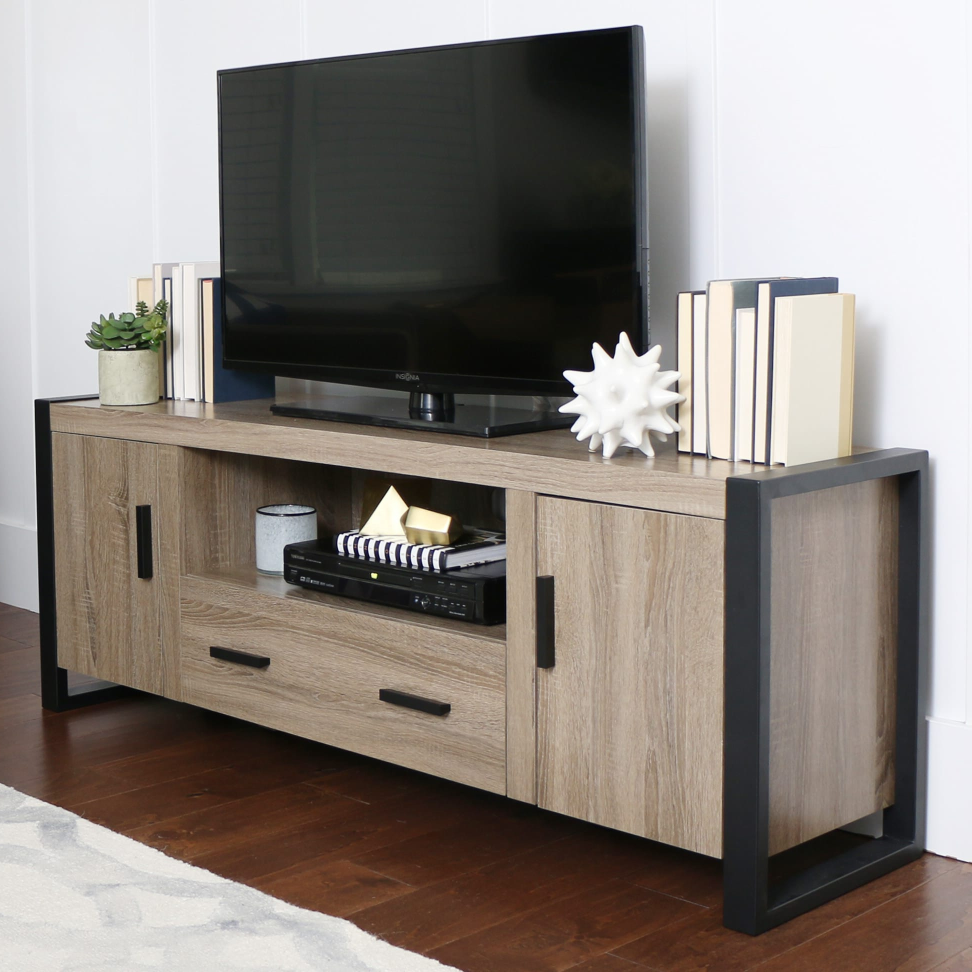 Walker Edison Contemporary Tall Tv Stands Pertaining To Widely Used Urban Blend 60 Inch Tv Stand – Ash Grey/blackwalker Edison (View 9 of 10)