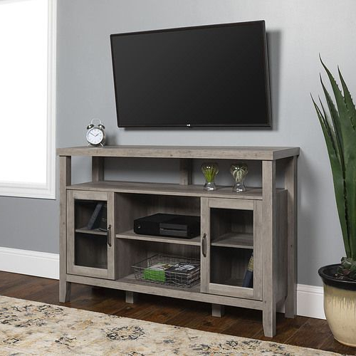 Walker Edison Contemporary Tall Tv Stands With Newest Walker Edison – Rustic Farmhouse Tall Tv Stand For Most (View 10 of 10)