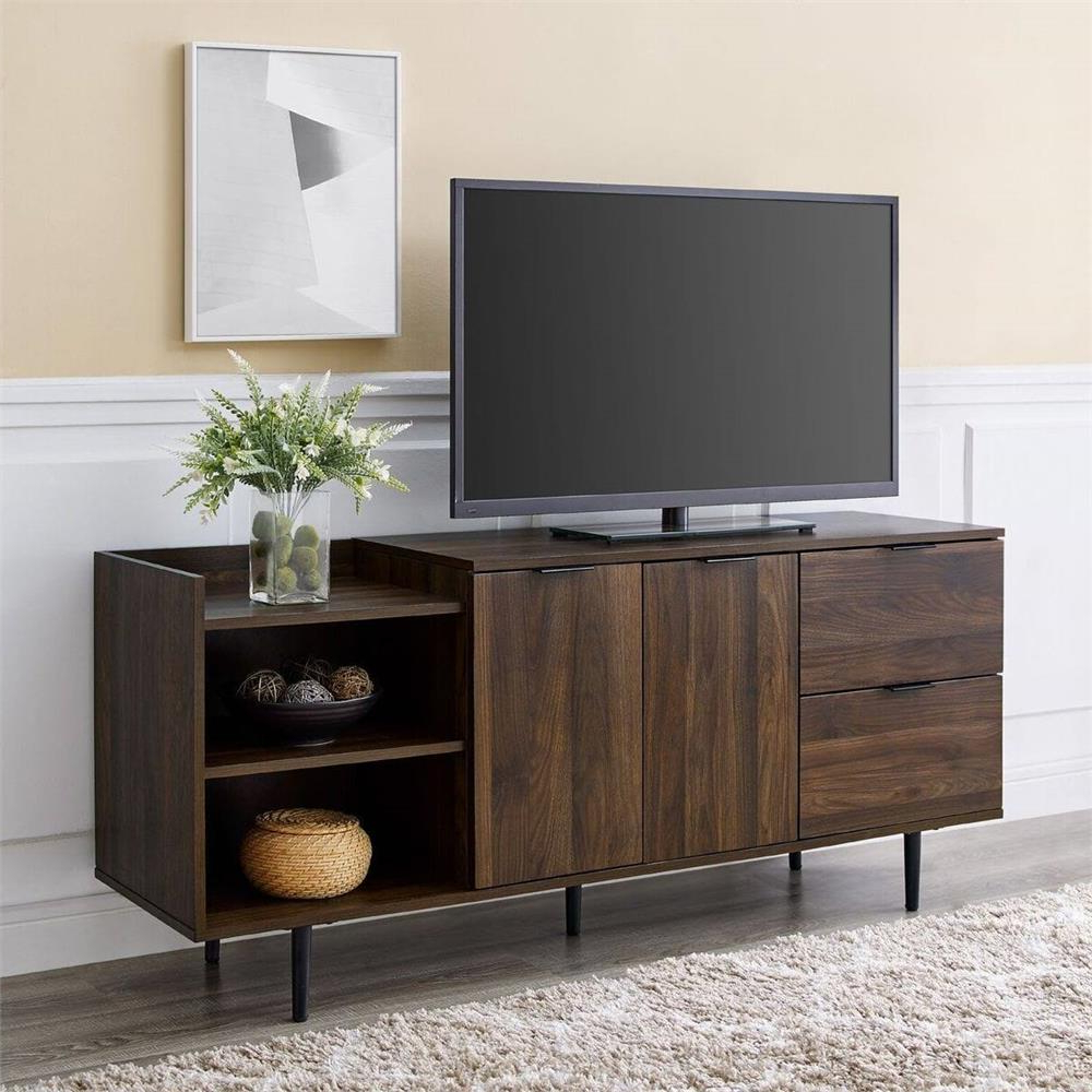Walker Edison Contemporary Tall Tv Stands Within Well Known Walker Edison 58 In (View 8 of 10)