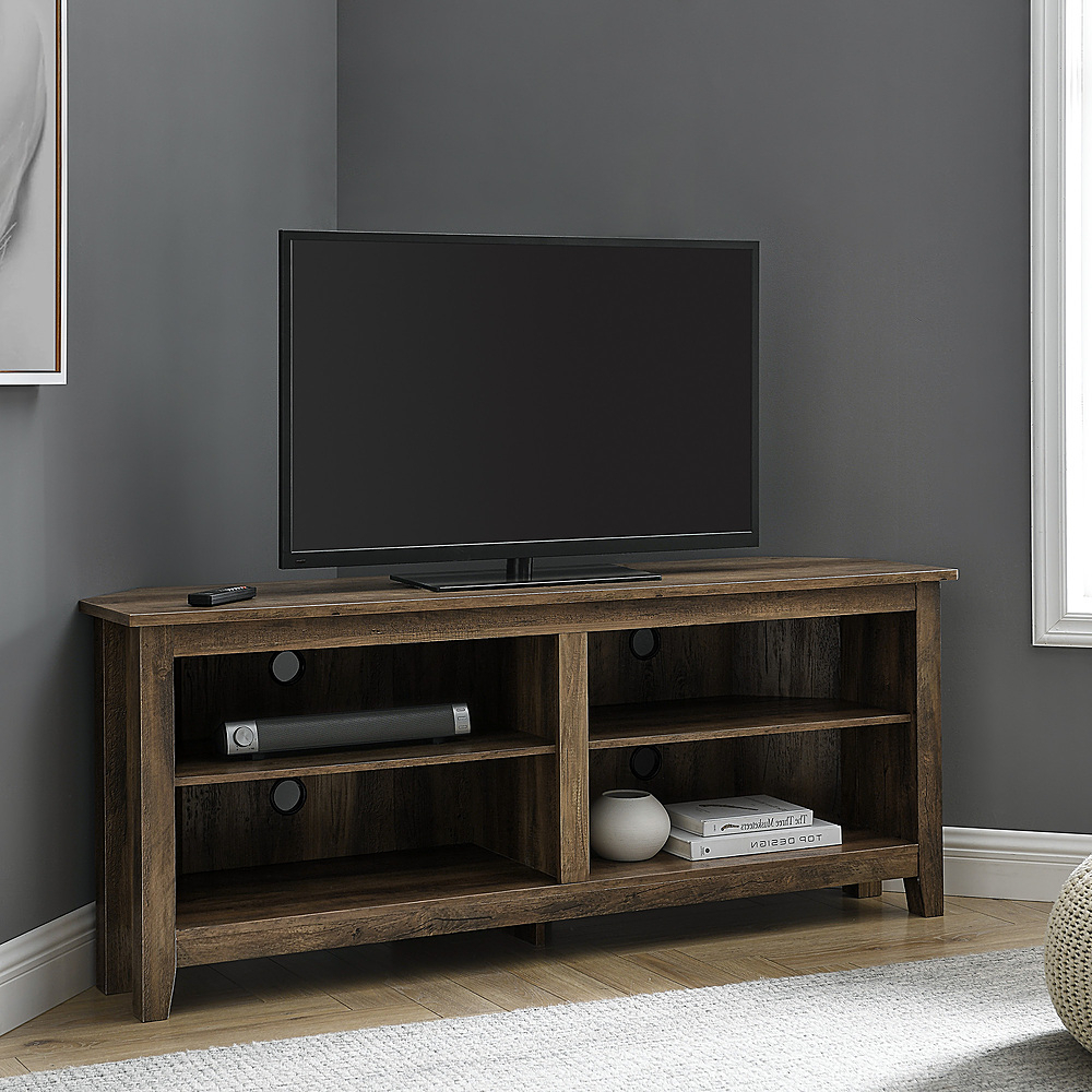 """Walker Edison Corner Open Shelf Tv Stand For Most Flat With Most Recent Kasen Tv Stands For Tvs Up To 60"""" (View 3 of 25)"""