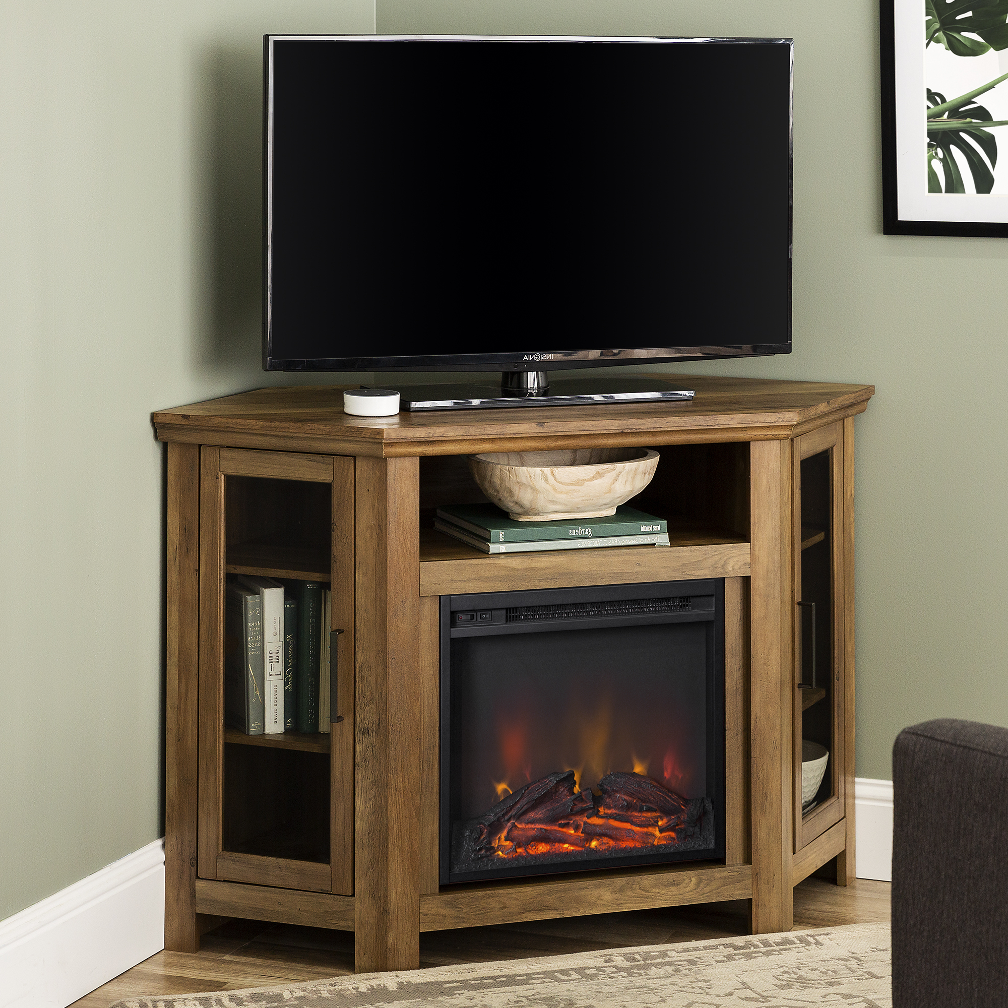 """Walker Edison Reclaimed Barnwood Corner Fireplace Tv Stand Pertaining To Most Current Lorraine Tv Stands For Tvs Up To 60"""" (View 8 of 25)"""
