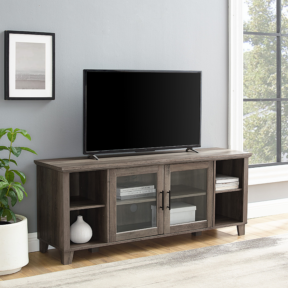 Walker Edison Rustic Farmhouse Columbus Tv Stand Cabinet Intended For Well Known Corona Grey Flat Screen Tv Unit Stands (View 7 of 10)