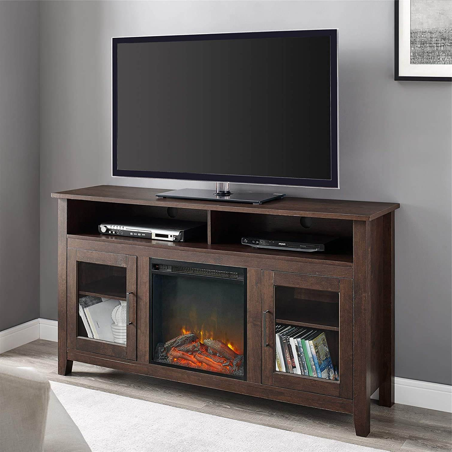 Walker Edison Rustic Wood And Glass Tall Fireplace Stand With Widely Used Walker Edison Farmhouse Tv Stands With Storage Cabinet Doors And Shelves (View 10 of 10)