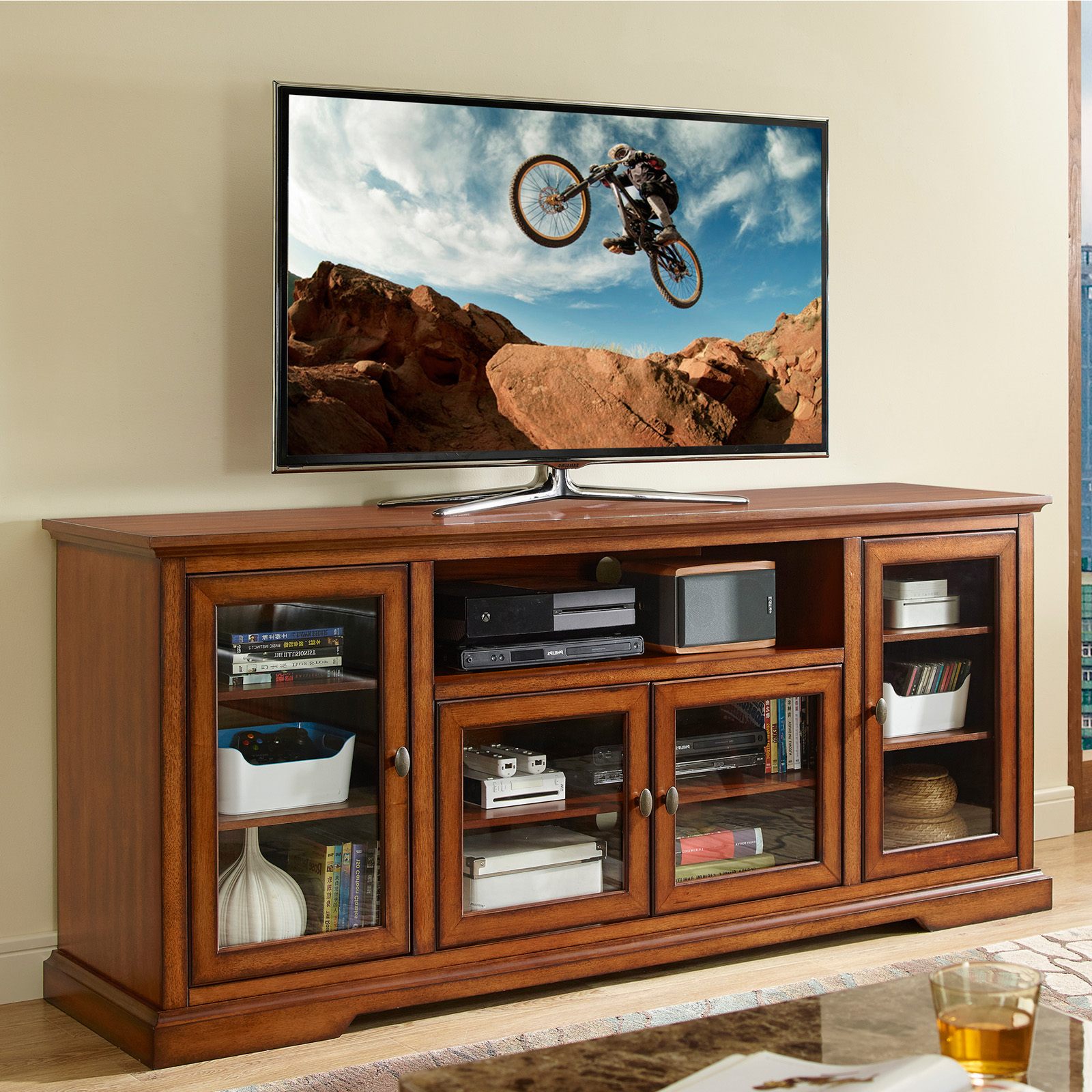 Walker Edison Style Wood Tv Stand – Tv Stands At Hayneedle With Regard To 2017 Walker Edison Contemporary Tall Tv Stands (View 6 of 10)