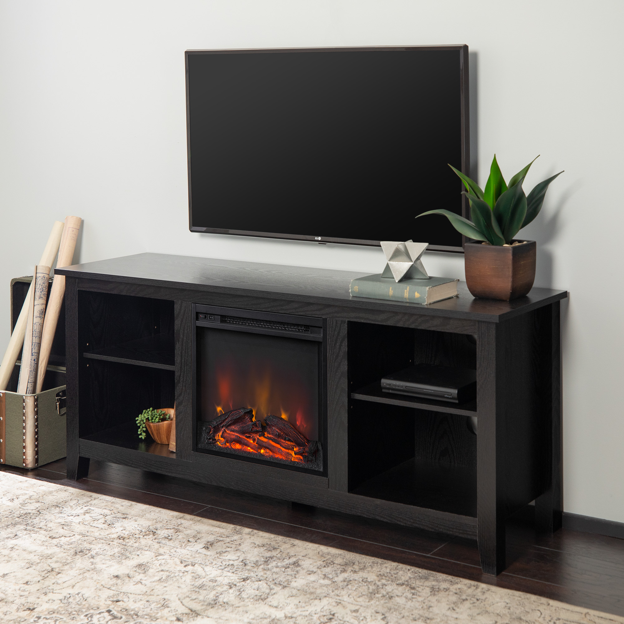 """Walker Edison Traditional Fireplace Tv Stand For Tvs Up To Inside Favorite Tracy Tv Stands For Tvs Up To 50"""" (View 3 of 25)"""