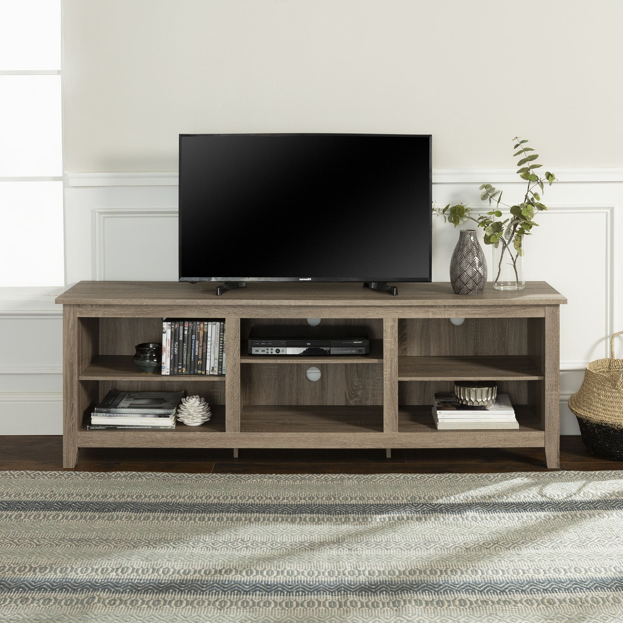 Walker Edison Wood Tv Media Storage Stand For Tv's Up To For Most Recent Woven Paths Franklin Grooved Two Door Tv Stands (View 6 of 10)