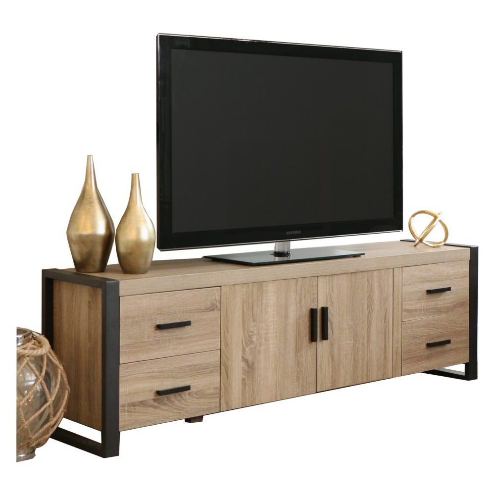 Walker Edison Wood Tv Media Storage Stands In Black Intended For Best And Newest Walker Edison 70 In (View 1 of 10)