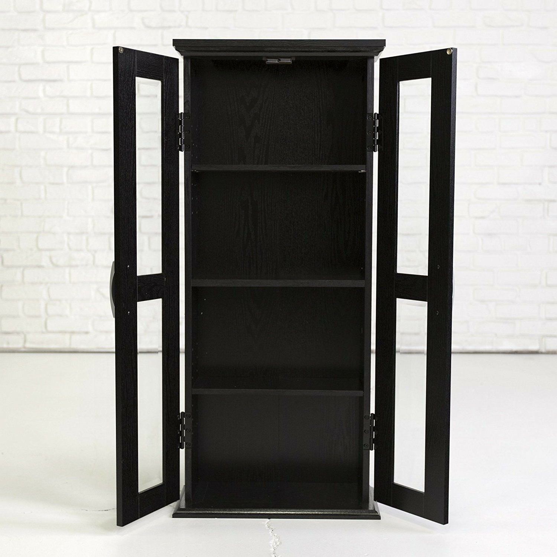 Walker Edison Wood Tv Media Storage Stands In Black Regarding Well Known Modern Black Wood Media Storage Cabinet With Glass Doors (View 6 of 10)