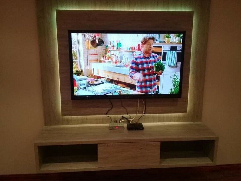 Wall Mounted Tv Stand With Neon Led Lights Or White Lights Regarding Latest Milano White Tv Stands With Led Lights (View 22 of 25)