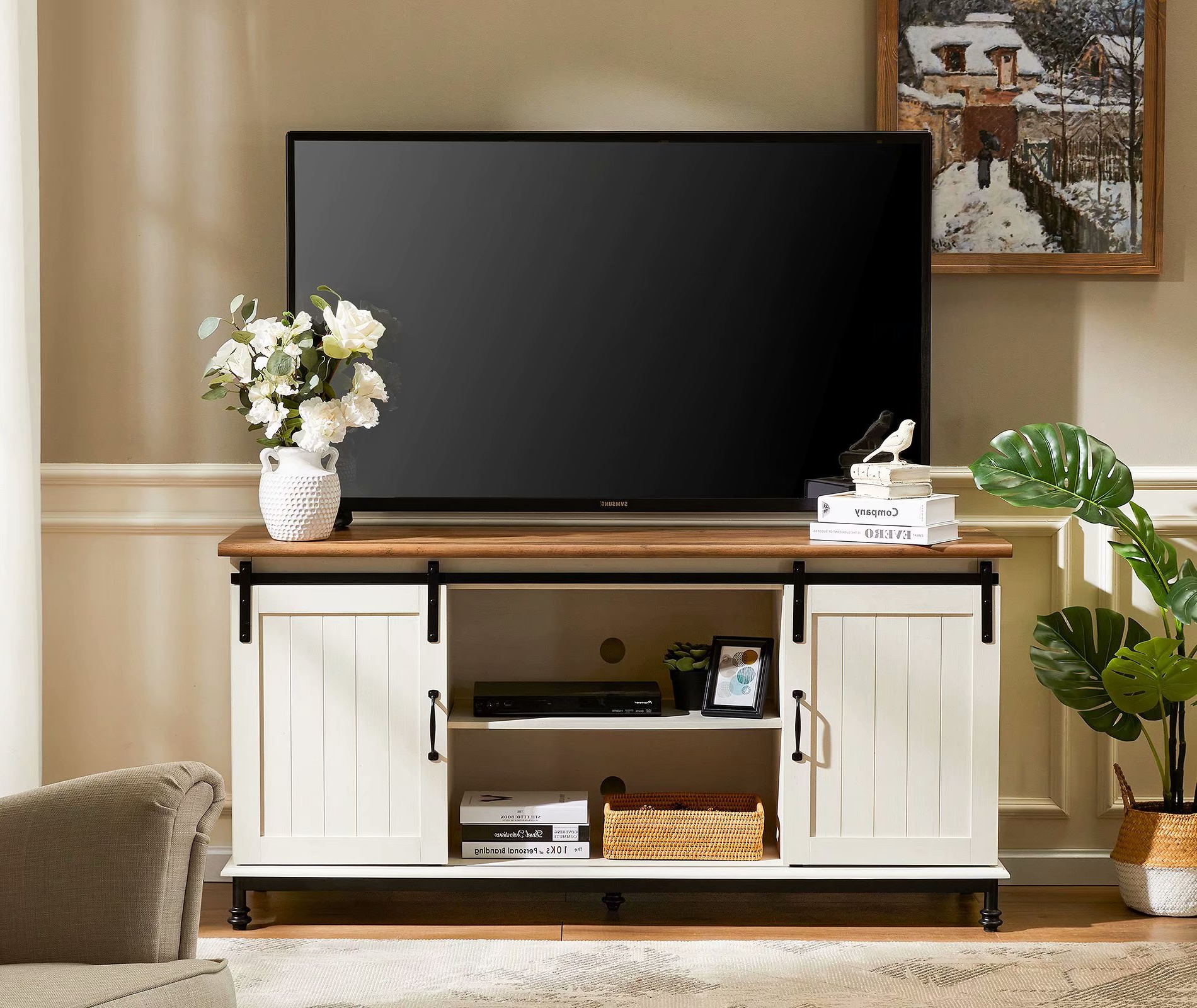 Wampat Wood Tv Stand Sliding Barn Door Modern Farmhouse For Well Liked Modern Sliding Door Tv Stands (View 1 of 10)
