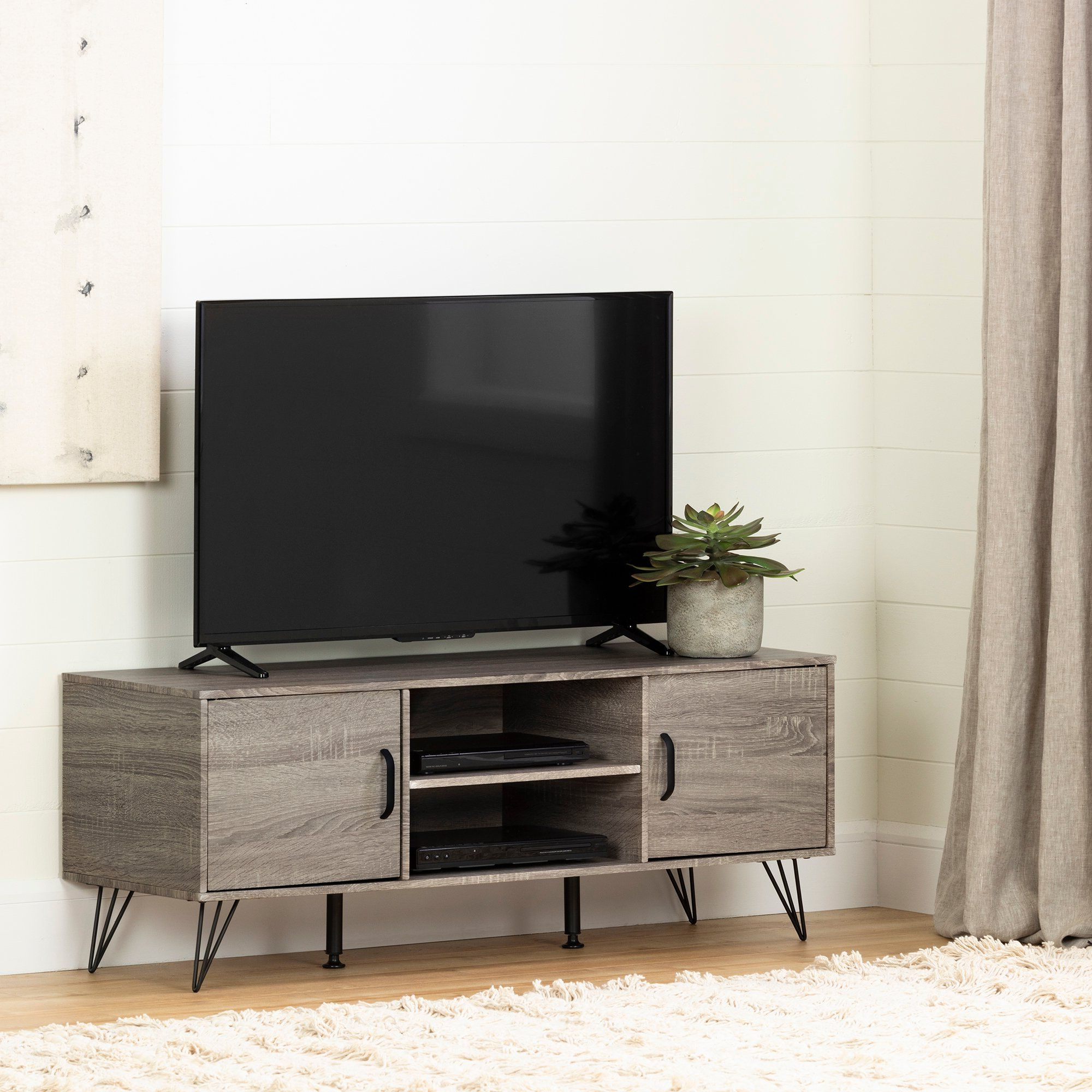 Well Known 47 Inch Oak Caramel Tv Stand With Doors – Evane In 2020 With Regard To South Shore Evane Tv Stands With Doors In Oak Camel (View 5 of 10)