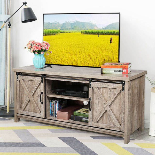"""Well Known 58"""" Farmhouse Tv Stand For Tvs With Sliding Wood Barn Door In Modern Farmhouse Style 58"""" Tv Stands With Sliding Barn Door (View 7 of 10)"""