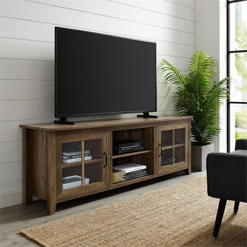 """Well Known 70"""" Farmhouse Wood Tv Stand With Glass Doors – Rustic Oak With Regard To Astoria Oak Tv Stands (View 4 of 10)"""