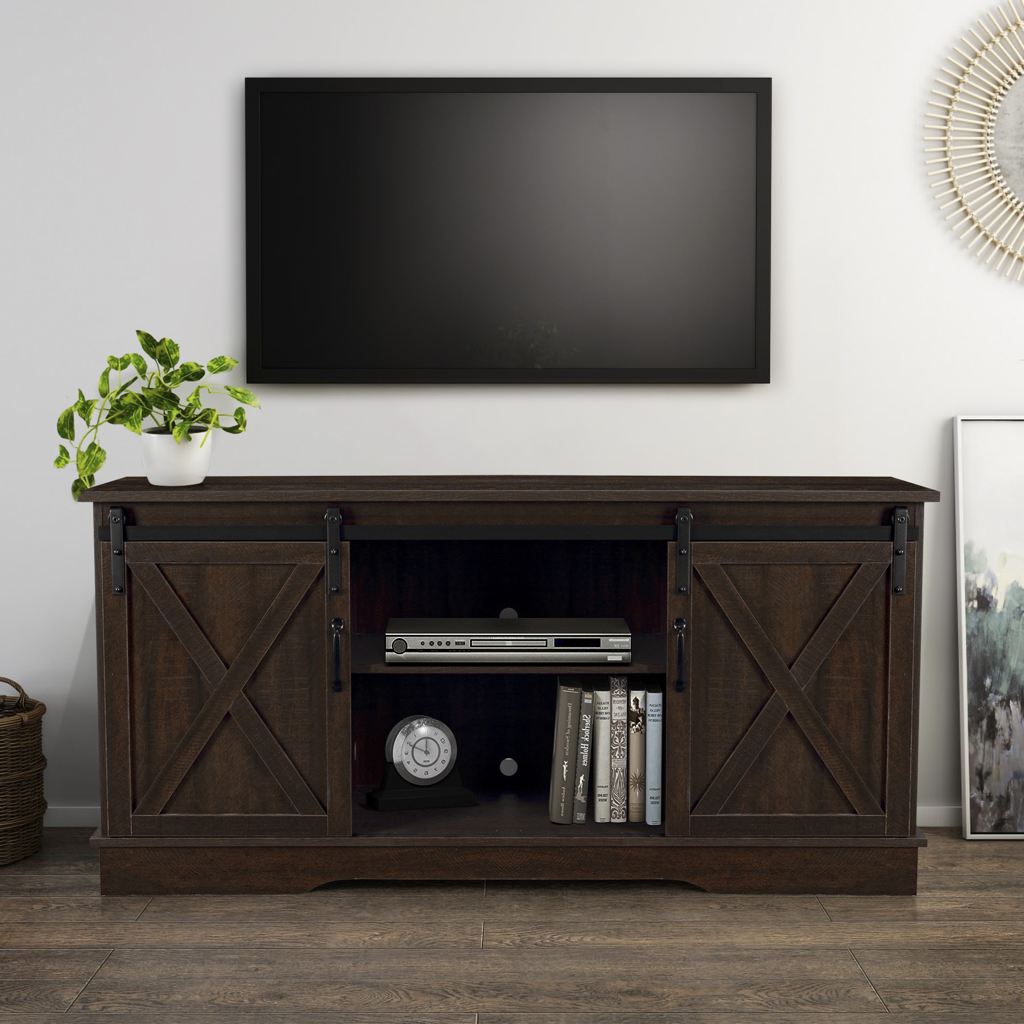 Well Known Belleze Modern Farmhouse Style 58 Inch Tv Stand With Regarding Barn Door Wood Tv Stands (View 5 of 10)