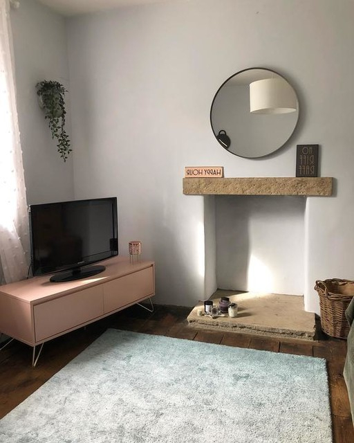 Well Known Bromley Grey Extra Wide Tv Stands Pertaining To Elona Corner Media Unit, Slate Blue & Black (View 3 of 10)