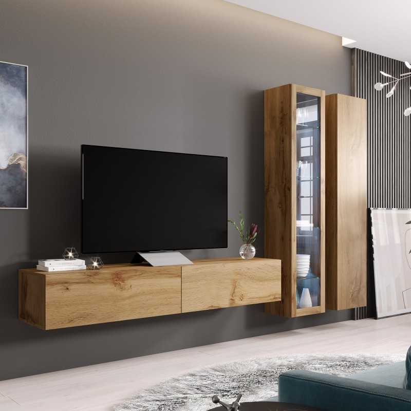 Well Known Carbon Tv Unit Stands Pertaining To Bmf Vigo Wotan Wall Unit 3 Floating Tv Stand Display (View 8 of 10)