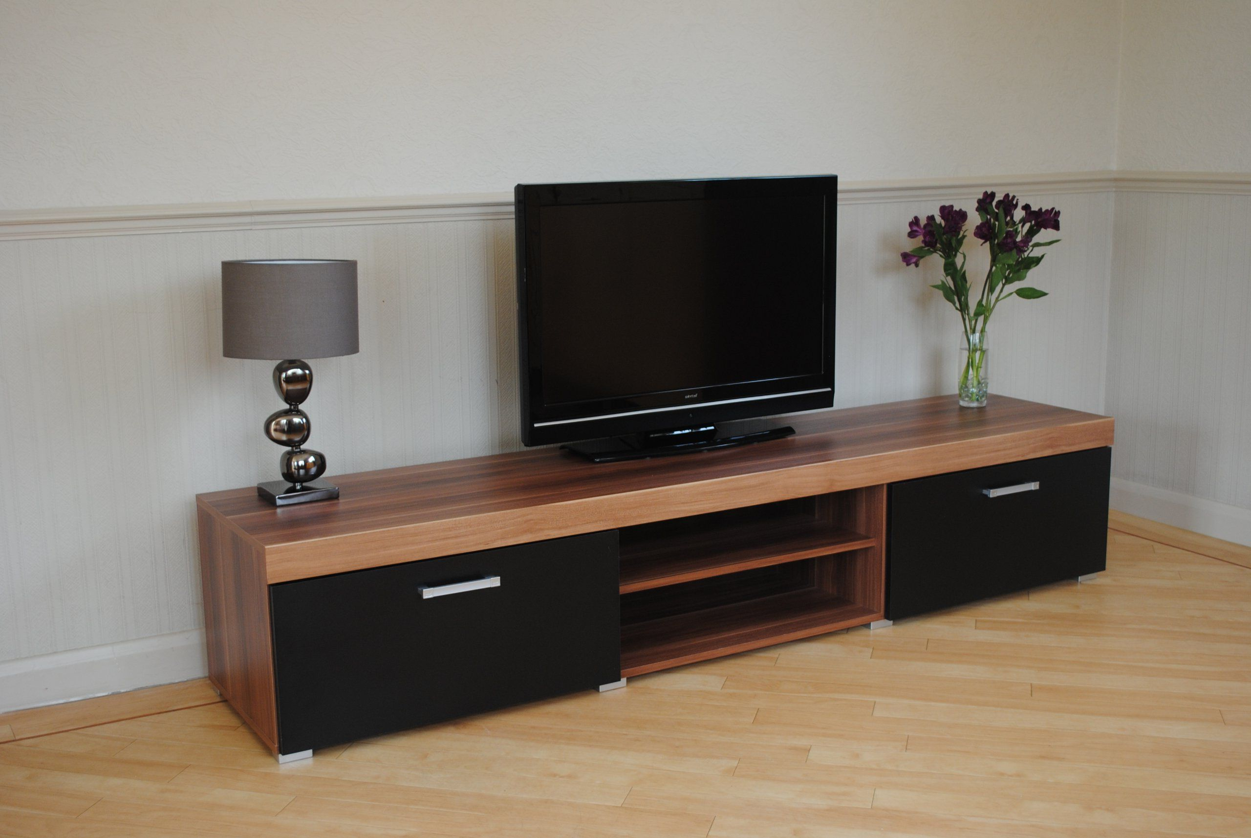 Well Known Chromium Extra Wide Tv Unit Stands In 2 Metre Black & Walnut Sydney 2 Door Tv Cabinet Extra (View 9 of 10)