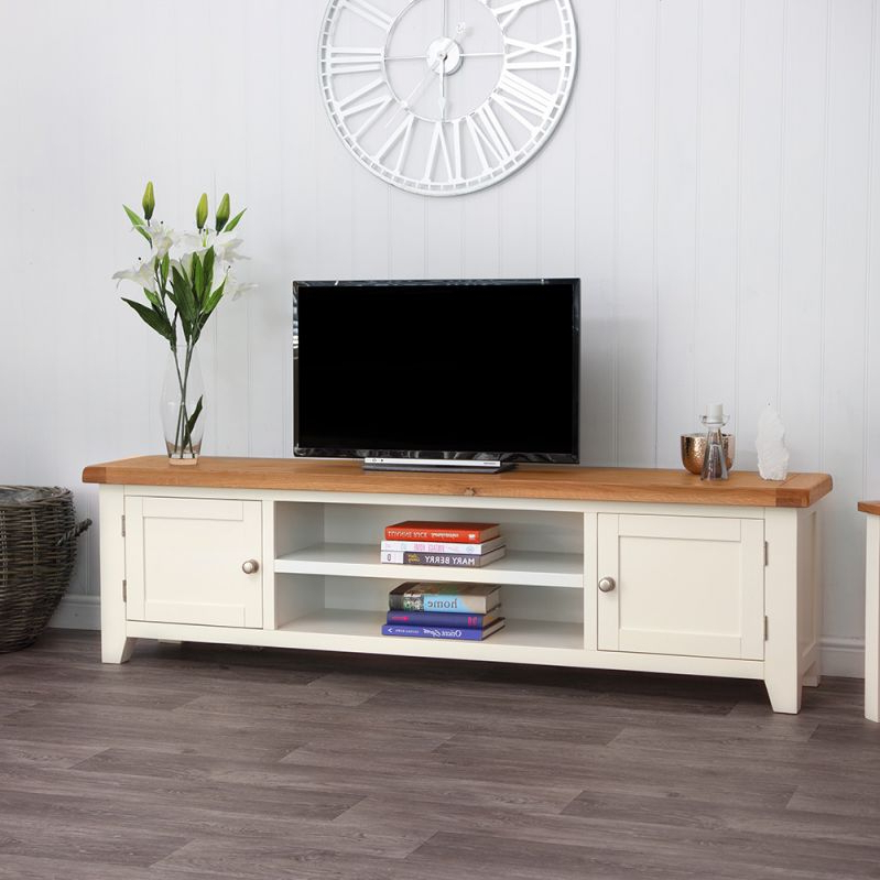 Well Known Compton Ivory Corner Tv Stands With Baskets For Hampshire Ivory Painted Oak Extra Large Tv Unit (View 25 of 25)