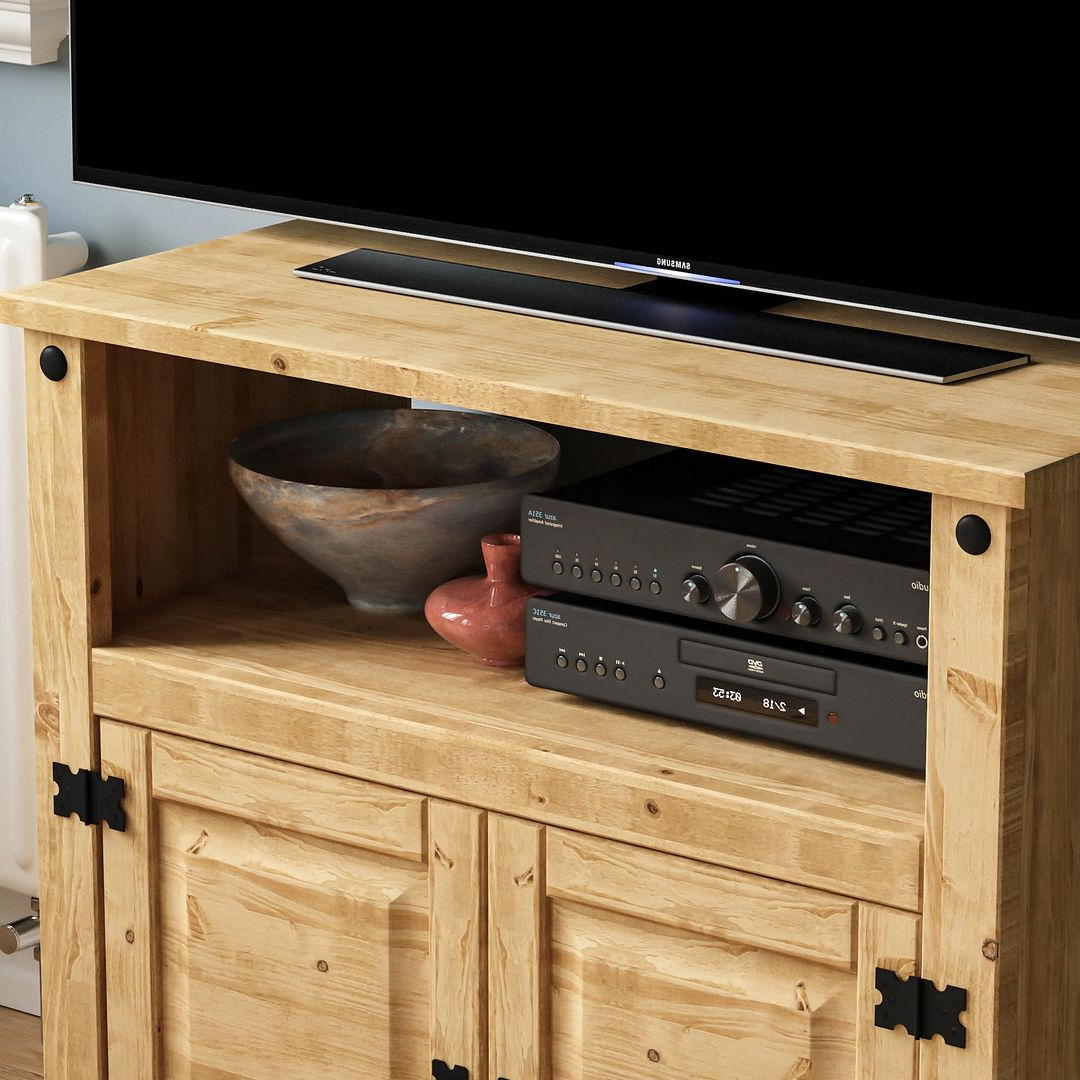 Well Known Corona Panama Tv Cabinet Media Dvd Unit Solid Pine Wood Pertaining To Corona Pine 2 Door 1 Shelf Flat Screen Tv Unit Stands (View 6 of 10)