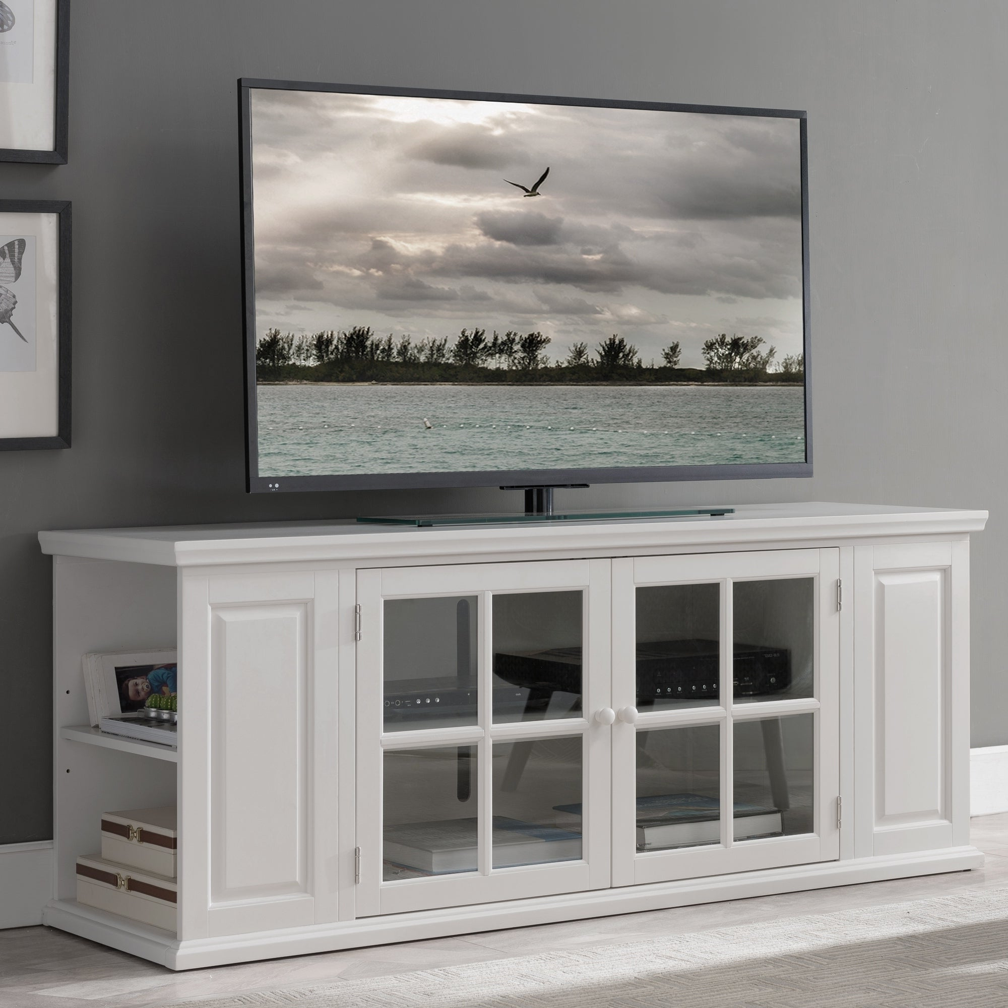 Well Known Cottage White 62 Inch Tv Stand – 62 Inches White Throughout Bromley White Wide Tv Stands (View 8 of 10)