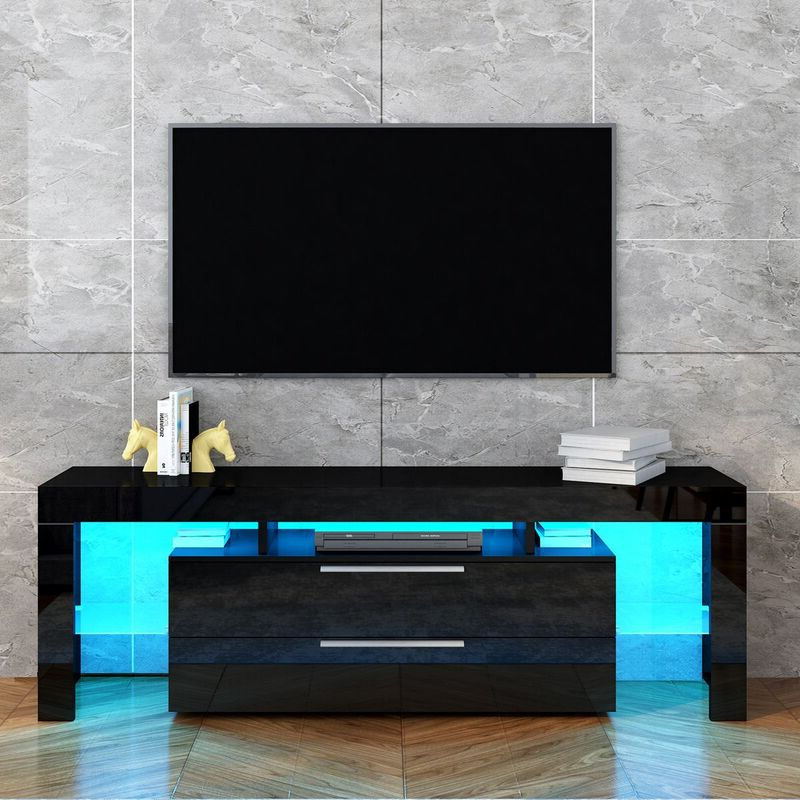 Well Known Dillon Black Tv Unit Stands Intended For Tv Stand Entertainment Unit 2 Drawers Storage Cabinet Wood (View 10 of 10)