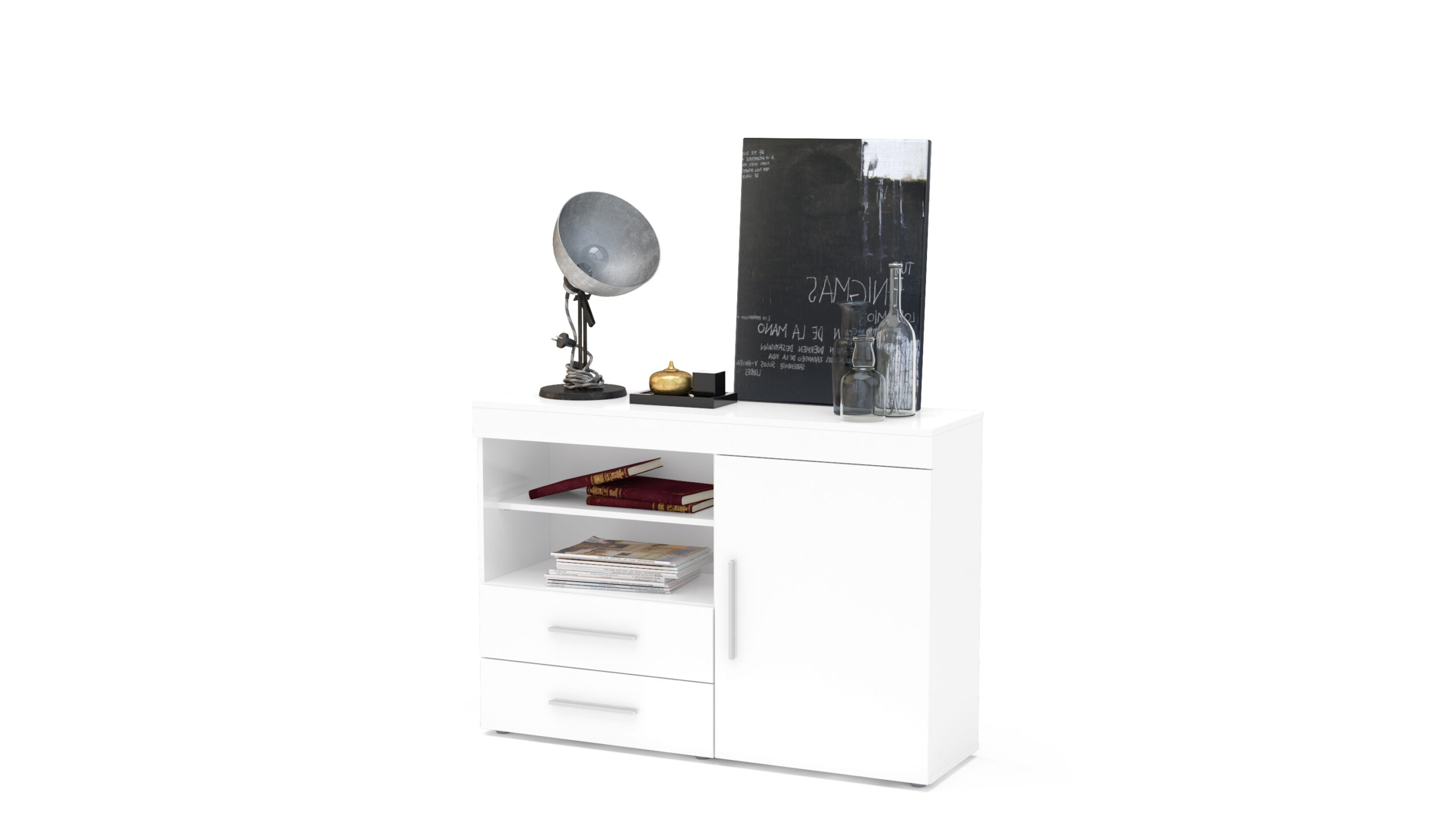 Well Known Edgeware 1 Door 2 Drawer Sideboard White – Niture Uk With Regard To Edgeware Tv Stands (View 11 of 25)