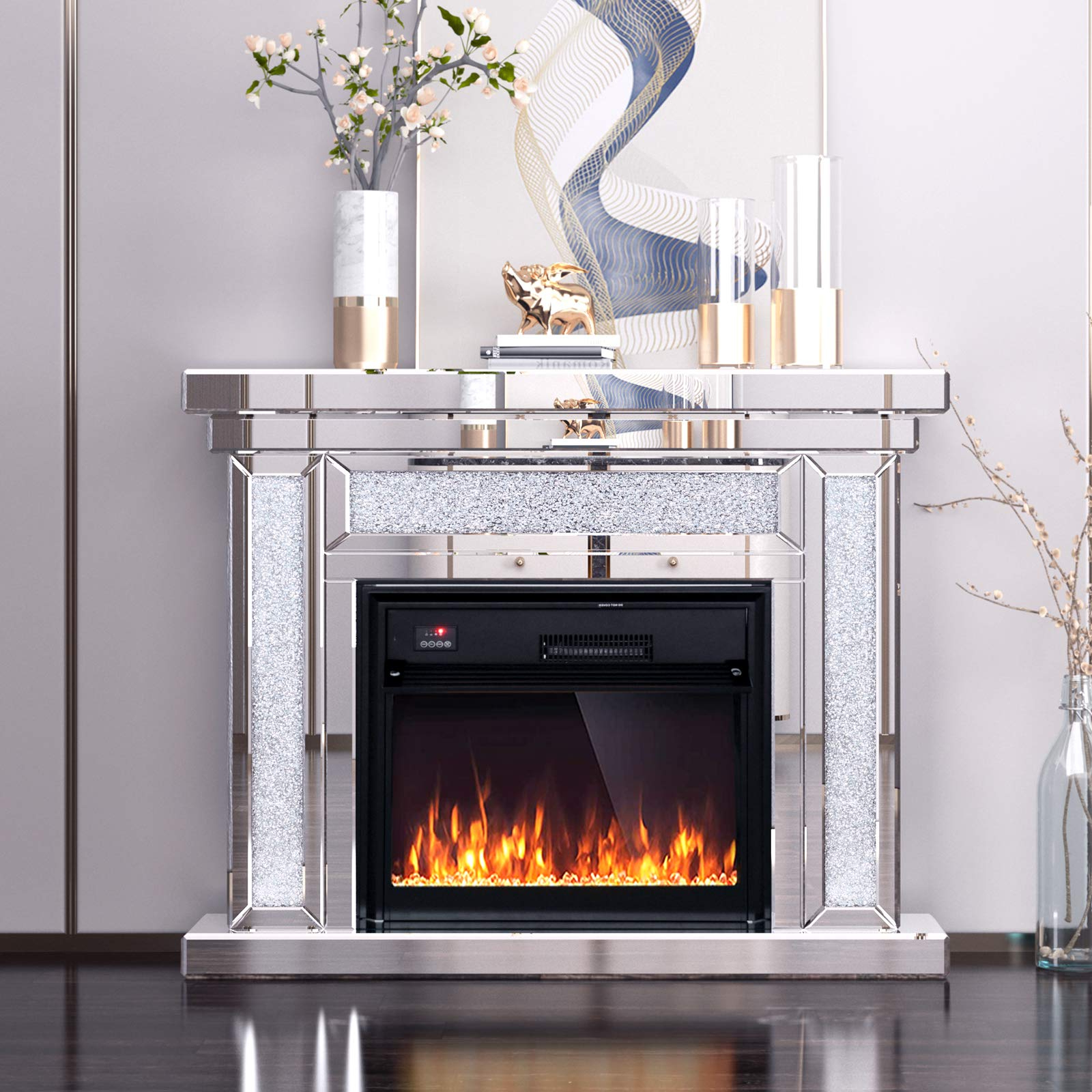 Well Known Electric Fireplace Tv Stand Mantel Mirrored Fireplace For Fitzgerald Mirrored Tv Stands (View 18 of 25)