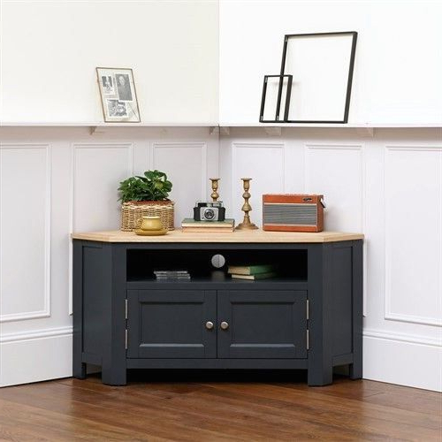 """Well Known Ellwood Charcoal Large Corner Tv Unit – Up To 56"""" – The With Regard To Compton Ivory Corner Tv Stands (View 9 of 25)"""