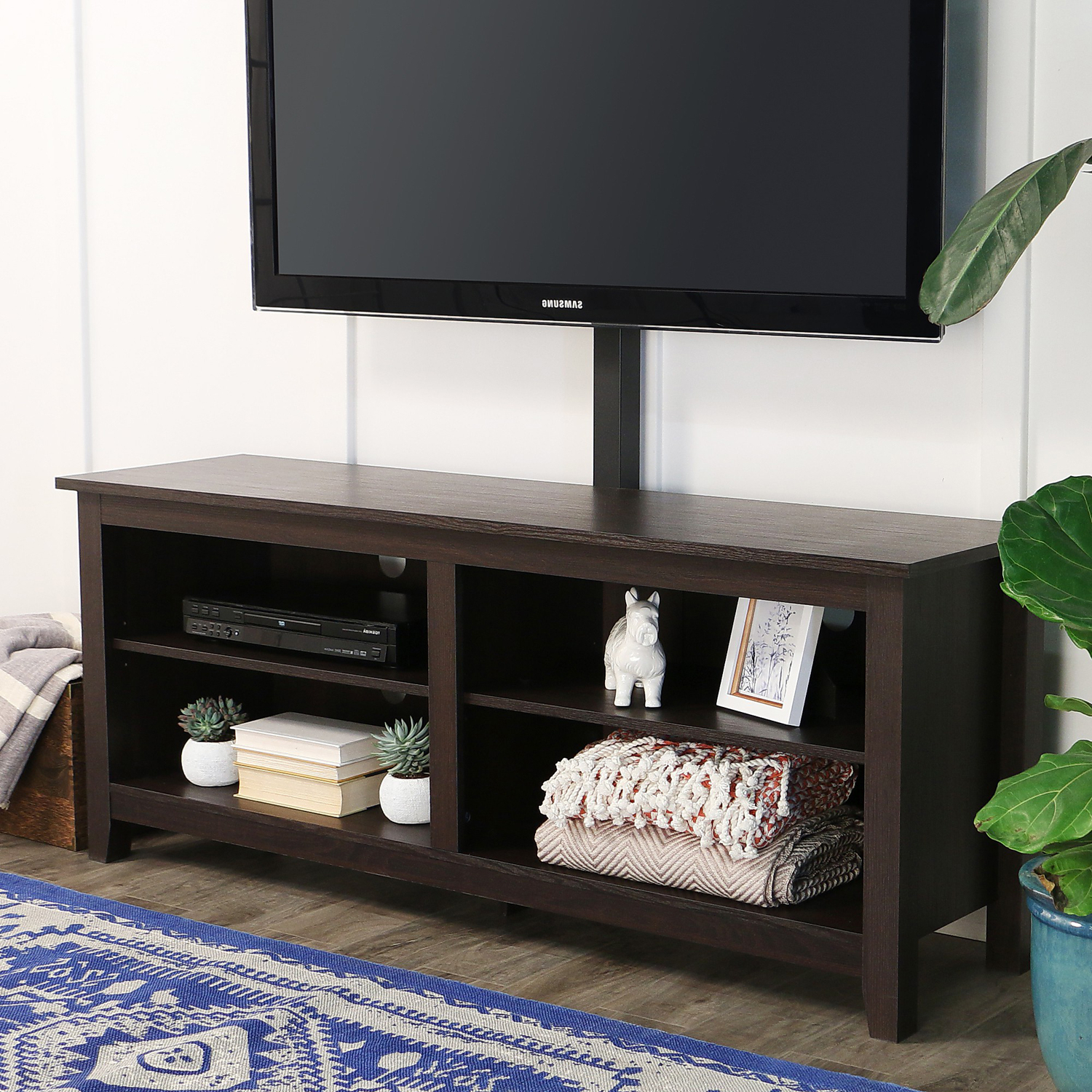 """Well Known Farmhouse Tv Stands For 75"""" Flat Screen With Console Table Storage Cabinet Within 58"""" Espresso Tv Stand Console With Mount – Pier1 Imports (View 4 of 10)"""