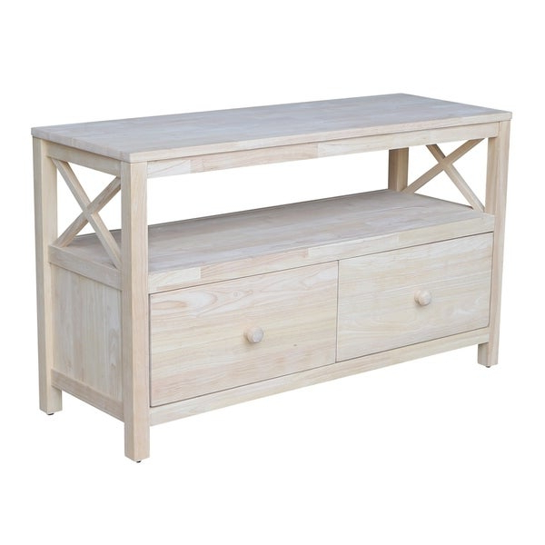 Well Known Freya Corner Tv Stands With Regard To Shop Unfinished Solid Parawood X Sides Tv Stand – Free (View 6 of 10)