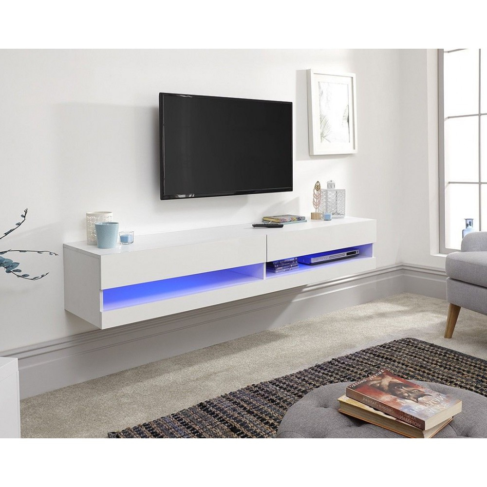 Well Known Galicia 180cm Led Wide Wall Tv Unit Stands Inside Galicia Wall Mounted White Gloss Tv Unit With Led – 180 Cm (View 8 of 10)
