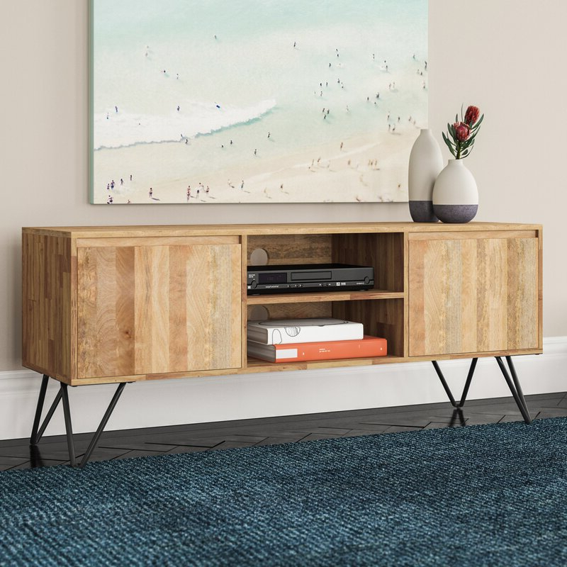 """Well Known Giltner Solid Wood Tv Stands For Tvs Up To 65"""" Pertaining To Vincennes Solid Wood Tv Stand For Tvs Up To 65 Inches (View 3 of 25)"""