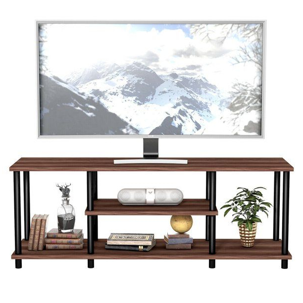 Well Known Gymax 3 Tier Tv Stand Entertainment Media Center Console Inside Tier Entertainment Tv Stands In Black (View 9 of 10)