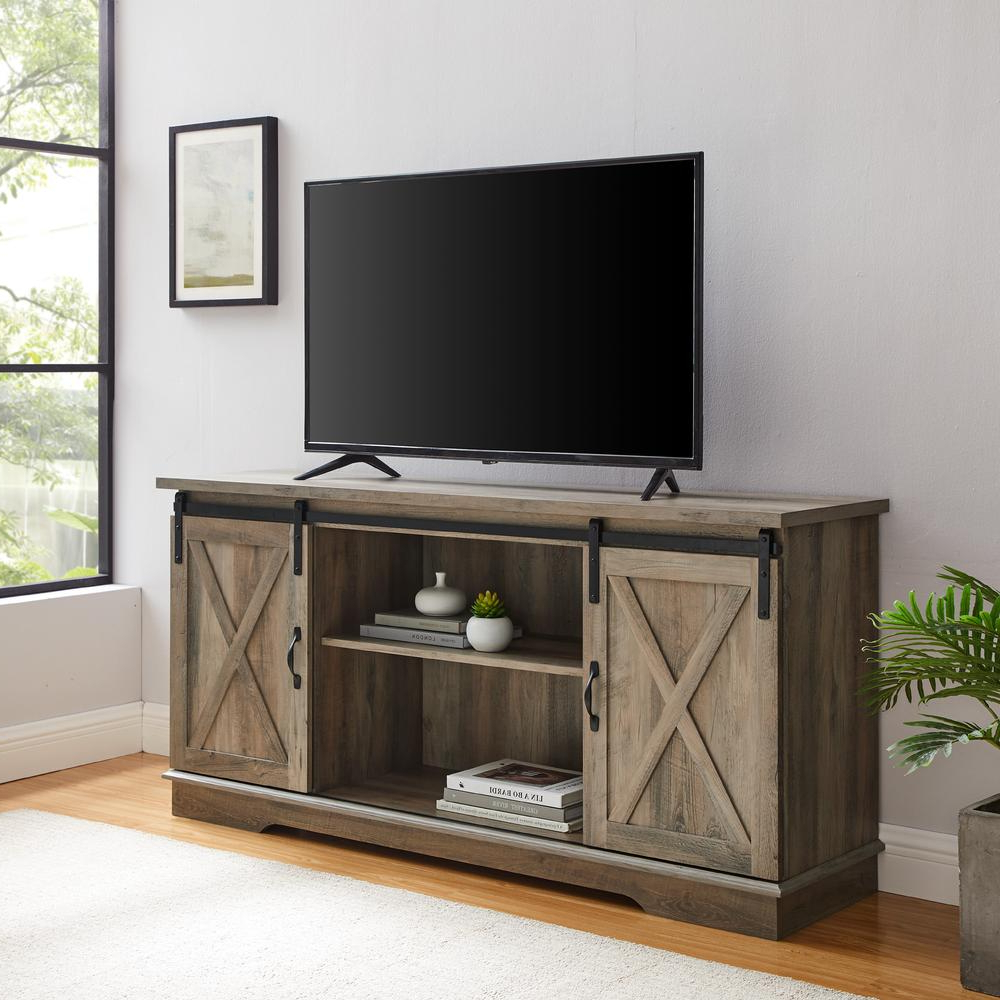 """Well Known Jaxpety 58"""" Farmhouse Sliding Barn Door Tv Stands Throughout 58"""" Sliding Barn Door Tv Console – Grey Wash (View 2 of 10)"""