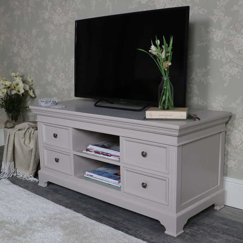Well Known Large Tv/media Cabinet Daventry Grey Range – Melody Maison® For Scandi 2 Drawer Grey Tv Media Unit Stands (View 2 of 10)