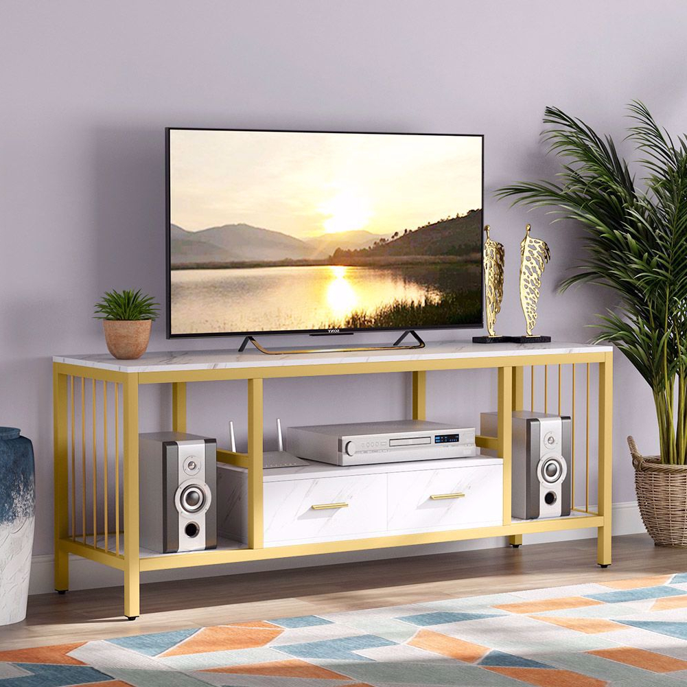 Well Known Manhattan 2 Drawer Media Tv Stands For Tribesigns Gold Tv Stand With Drawers, 55 Inches Modern (View 3 of 25)