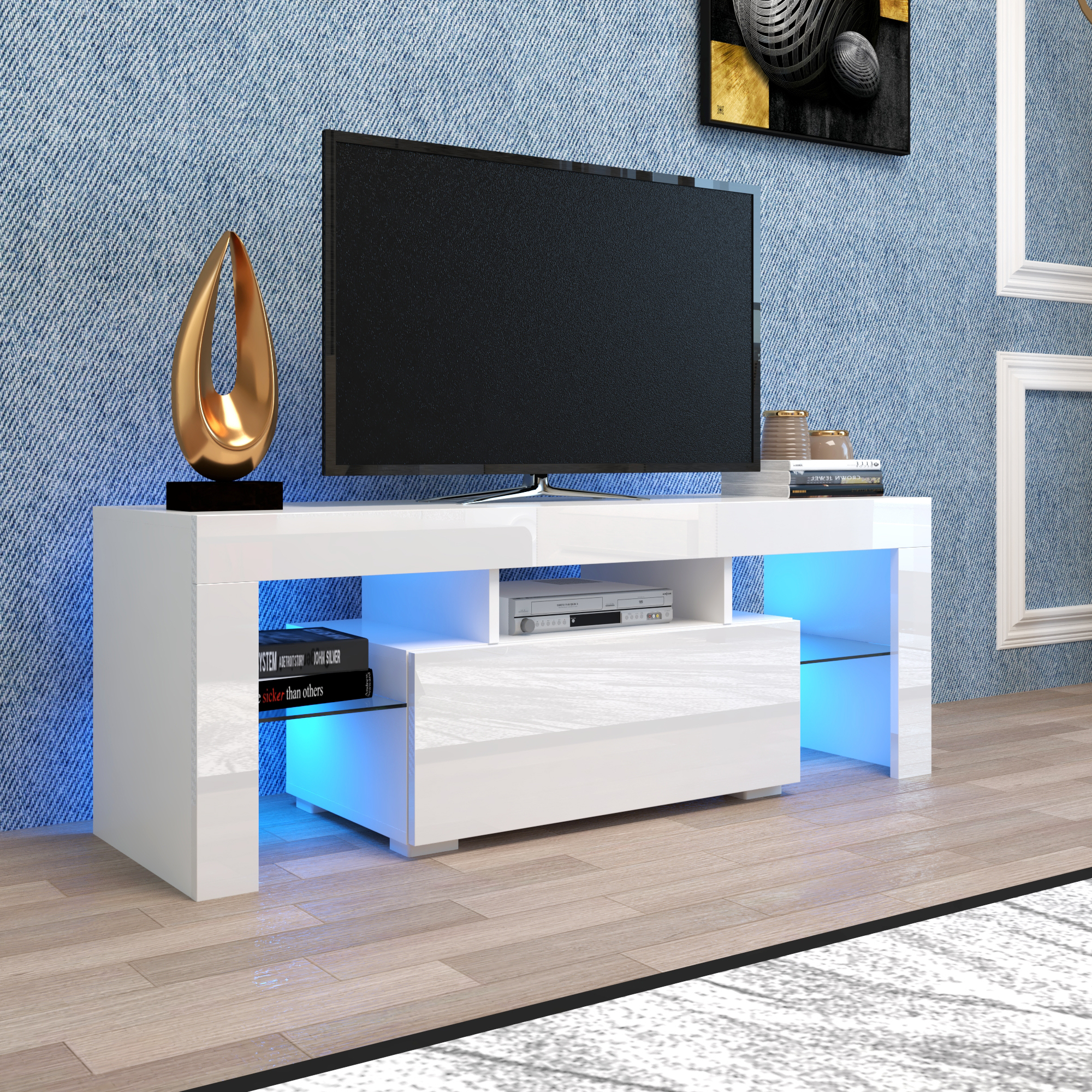 Well Known Manhattan 2 Drawer Media Tv Stands For White Tv Stand With Led Lights, Corner Tv Stand With (View 1 of 25)