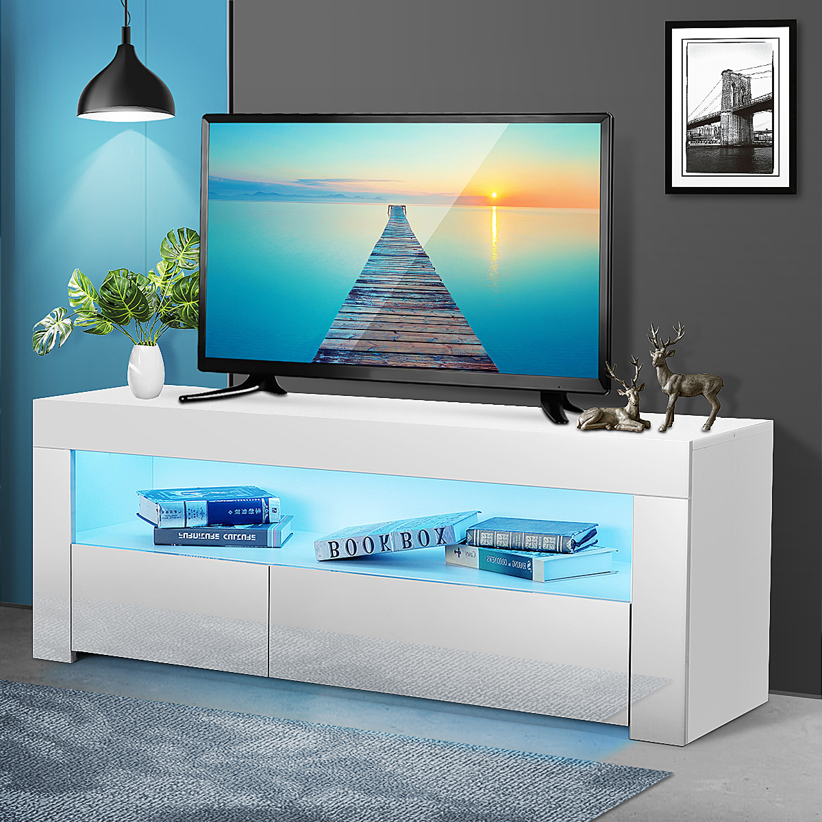 """Well Known Manhattan 2 Drawer Media Tv Stands Within 47"""" Tv Stand High Gloss Tv Cabinet, With 16 Color Leds,  (View 23 of 25)"""