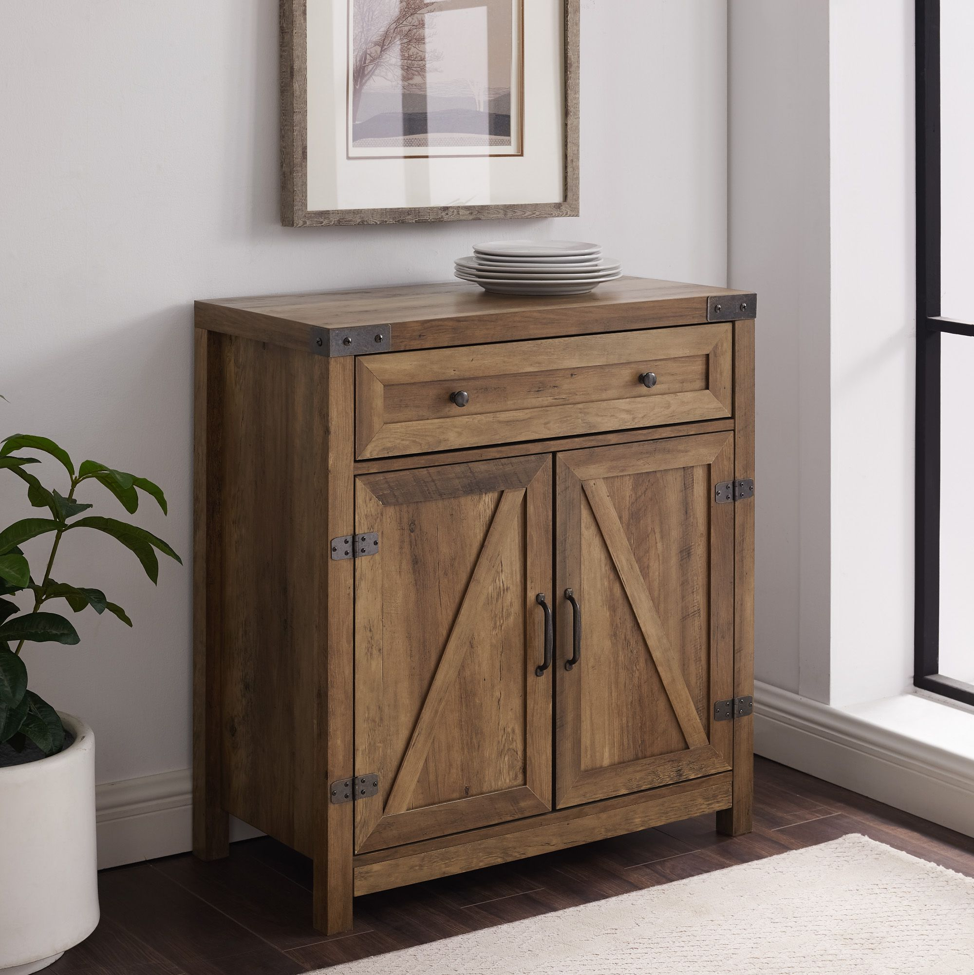 Well Known Manor Park Farmhouse Barn Door Accent Cabinet Reclaimed For Woven Paths Farmhouse Sliding Barn Door Tv Stands With Multiple Finishes (View 7 of 10)
