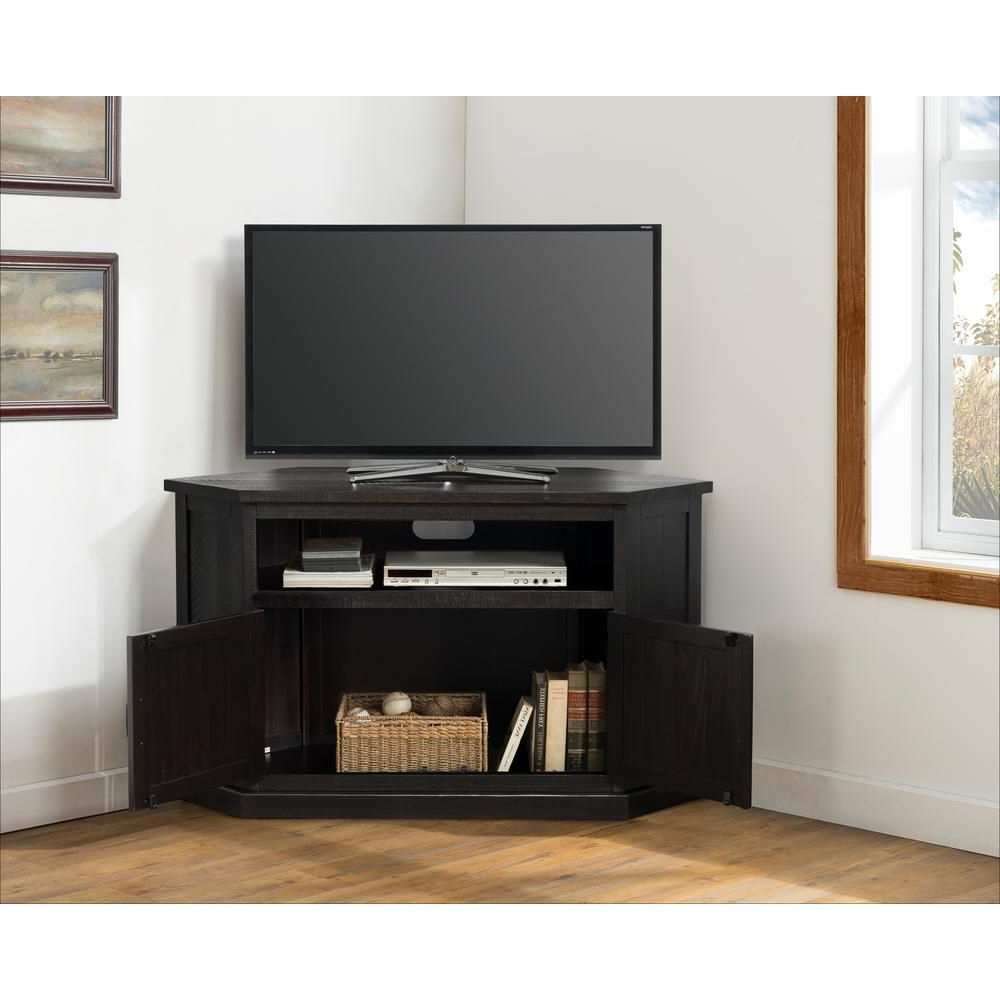 """Well Known Martin Svensson Home Rustic Corner Espresso Metal Corner Throughout Twila Tv Stands For Tvs Up To 55"""" (View 11 of 25)"""