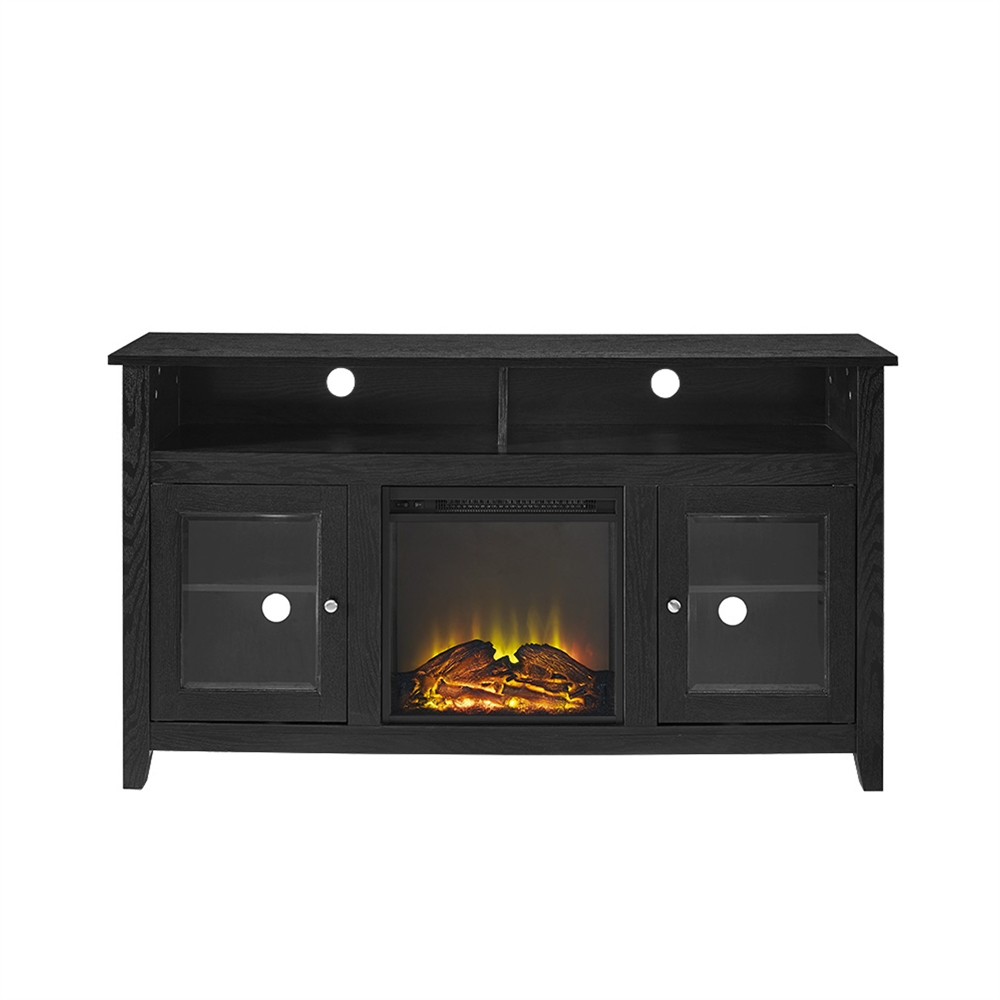 """Well Known Modern Black Floor Glass Tv Stands For Tvs Up To 70 Inch For 58"""" Wood Highboy Fireplace Tv Stand – Black (View 8 of 10)"""