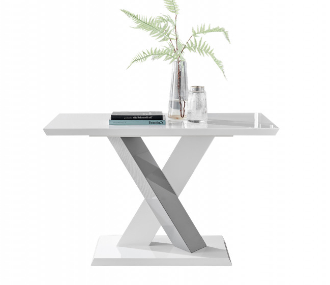 Well Known Monza Tv Stands Throughout Monza 4 Seat White High Gloss Dining Table With Grey Accent (View 3 of 10)