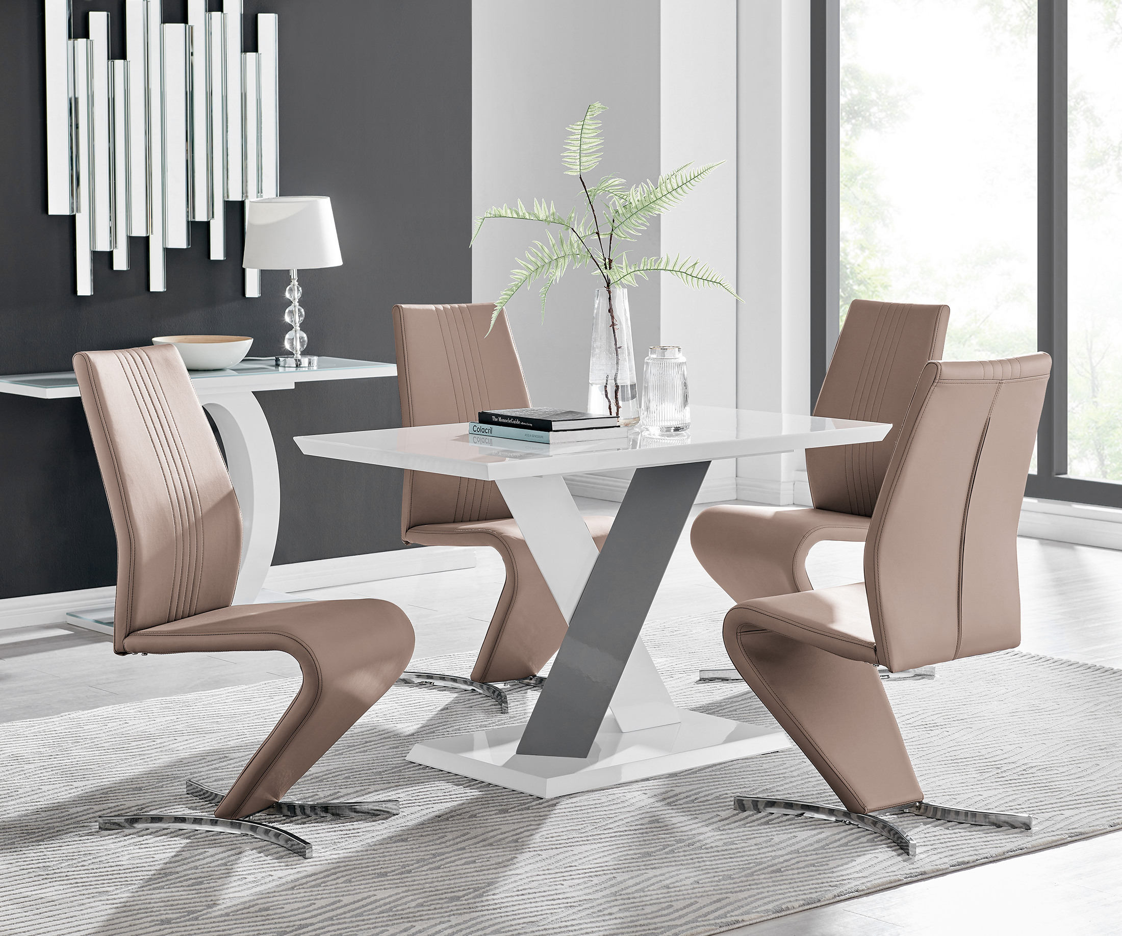 Well Known Monza Tv Stands Within Monza 4 White/grey Dining Table & 4 Willow Chairs (View 9 of 10)