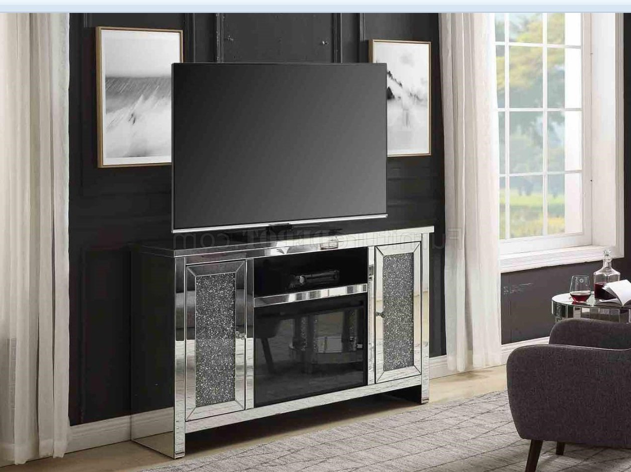 Well Known Noralie Tv Stand & Electric Fireplace 91775acme In Mirror Within Fitzgerald Mirrored Tv Stands (View 7 of 25)