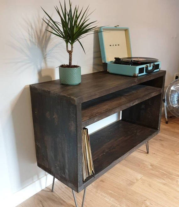 Well Known Record Player Stand – Industrial Tv Stand – Vinyl Storage Intended For Industrial Tv Stands With Metal Legs Rustic Brown (View 5 of 10)