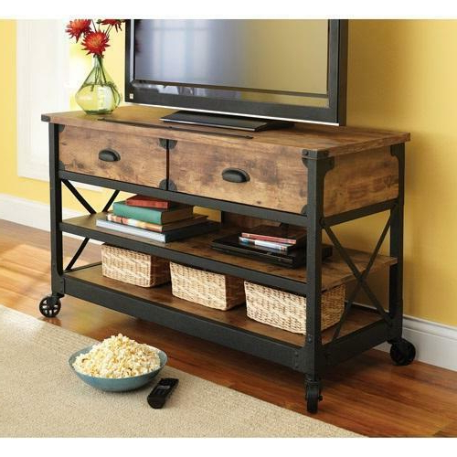 Well Known Rustic Tv Stand Console 2 Drawers Restoration Industrial For Manhattan 2 Drawer Media Tv Stands (View 5 of 25)