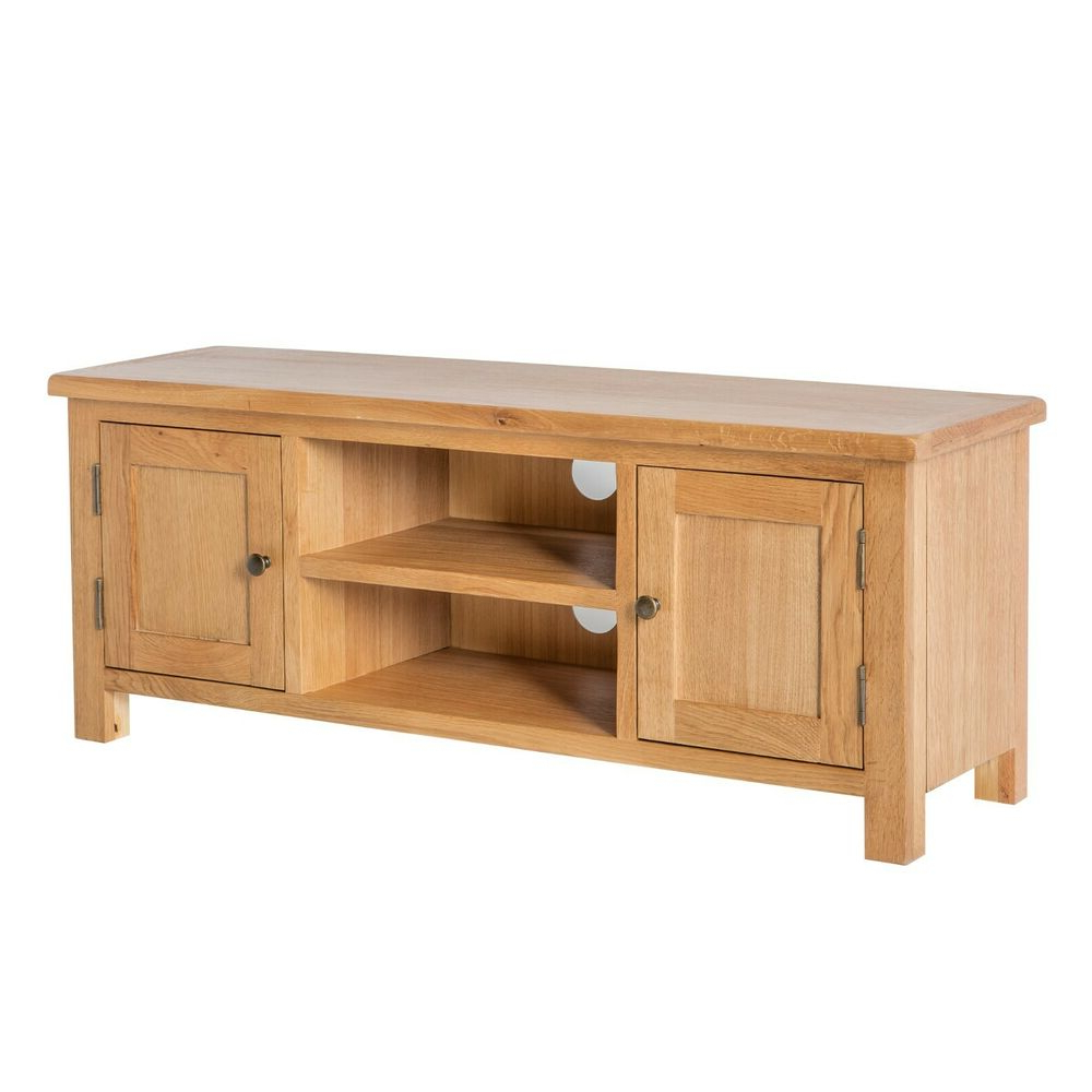 Well Known Surrey Oak Large Tv Stand / Solid Wood Plasma Tv Unit With Dillon Oak Extra Wide Tv Stands (View 10 of 10)