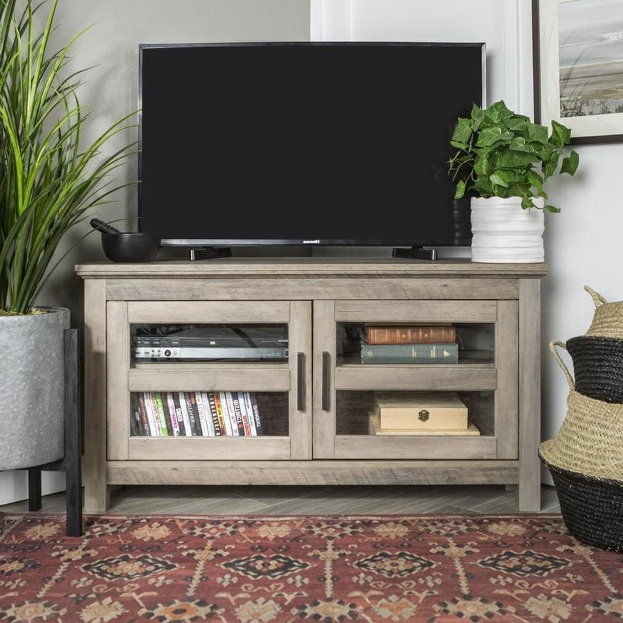 Well Known Walker Edison 44 In Transitional Modern Farmhouse Wood Within Hex Corner Tv Stands (View 9 of 25)