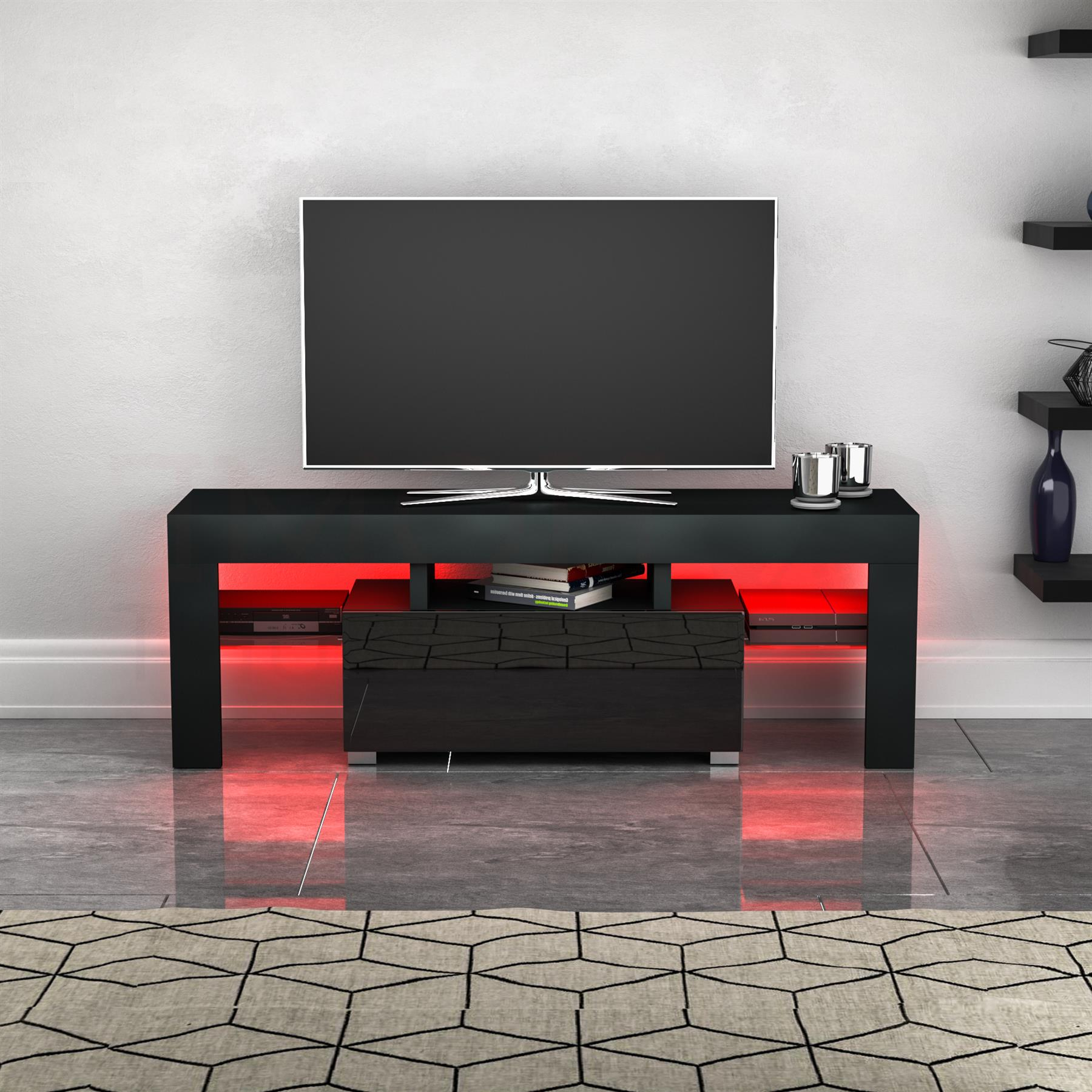 Well Known Zimtown Modern Tv Stands High Gloss Media Console Cabinet With Led Shelf And Drawers For Luna Led Tv Stand Cabinet Unit 1 Drawer Modern (View 6 of 10)